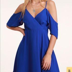 Royal Blue Off the Shoulder Skater Dress NWT